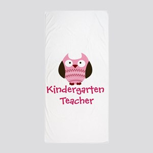 Pink Owl Kindergarten Teacher Beach Towel