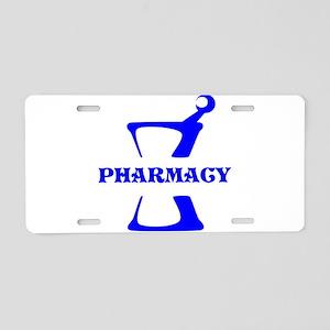 Blue Mortar and Pestle Aluminum License Plate