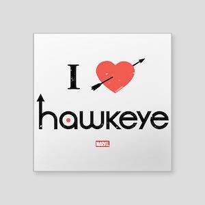 "I Heart Hawkeye Red Square Sticker 3"" x 3"""