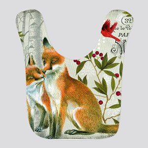 Modern vintage winter woodland fox Bib