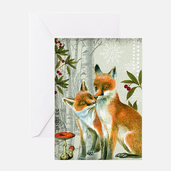 Modern vintage winter woodland fox Greeting Cards
