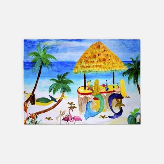 Mermaid beach bar 5'x7'Area Rug