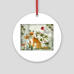 Modern vintage winter woodland fox Ornament (Round