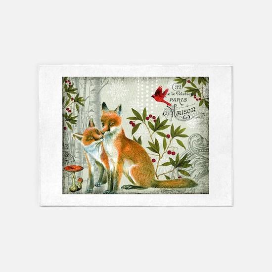 Modern vintage winter woodland fox 5'x7'Area Rug