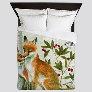 Modern vintage winter woodland fox Queen Duvet