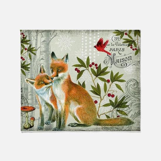 Modern vintage winter woodland fox Throw Blanket