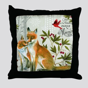 Modern vintage winter woodland fox Throw Pillow