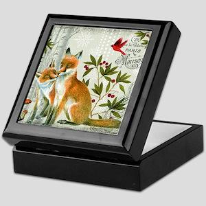 Modern vintage winter woodland fox Keepsake Box