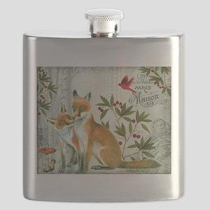 Modern vintage winter woodland fox Flask