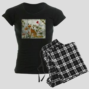Modern vintage winter woodland fox Pajamas