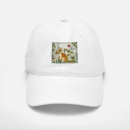 Modern vintage winter woodland fox Baseball Baseball Baseball Cap