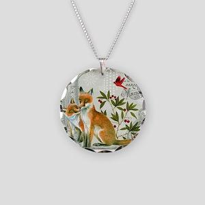 Modern vintage winter woodland fox Necklace