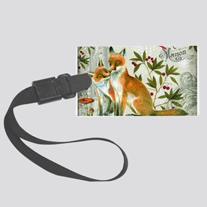 Modern vintage winter woodland fox Luggage Tag