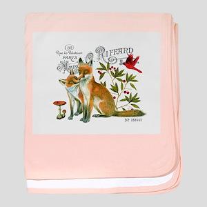 modern vintage woodland winter fox baby blanket