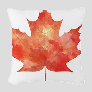 Maple Leaf Art Woven Throw Pillow