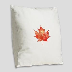 Maple Leaf Art Burlap Throw Pillow
