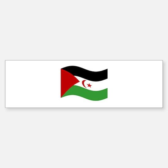 Waving Western Sahara Flag Bumper Bumper Bumper Sticker