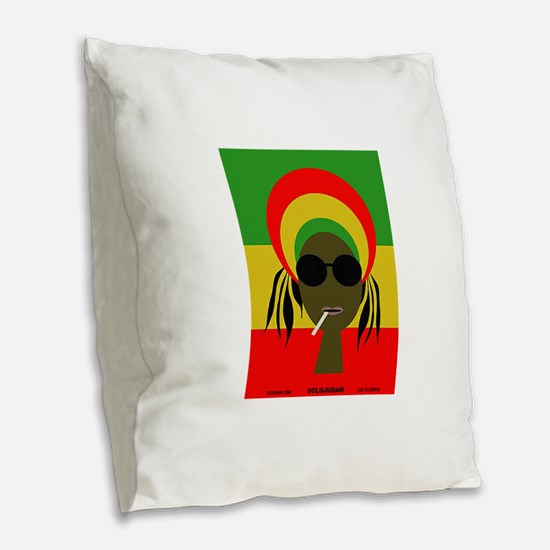 Rasta Queen Burlap Throw Pillow