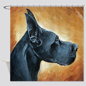 Great Dane Black Shower Curtain