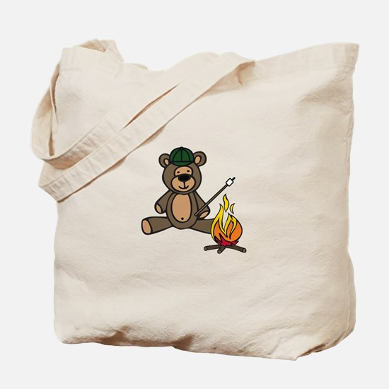 Campfire Teddy Bear Tote Bag