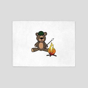 Campfire Teddy Bear 5'x7'Area Rug