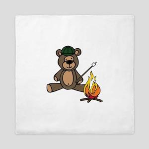 Campfire Teddy Bear Queen Duvet