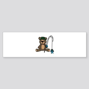 Fishing Teddy Bear Bumper Sticker