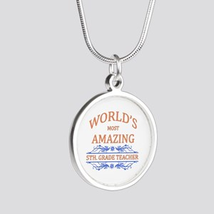 5th. Grade Teacher Silver Round Necklace