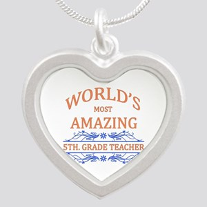 5th. Grade Teacher Silver Heart Necklace