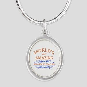 3rd. Grade Teacher Silver Oval Necklace