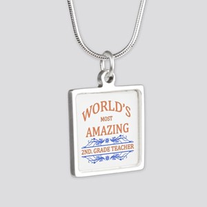 2nd. Grade Teacher Silver Square Necklace