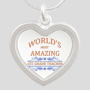 1st. Grade Teacher Silver Heart Necklace