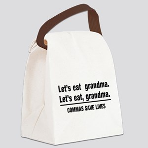 lets eat grandma Canvas Lunch Bag