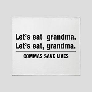 lets eat grandma Throw Blanket