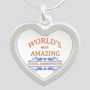 School Administrator Silver Heart Necklace