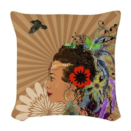 Bohemian Goddess Woven Throw Pillow