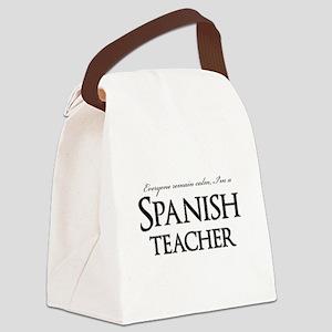Remain Calm Spanish Teacher Canvas Lunch Bag