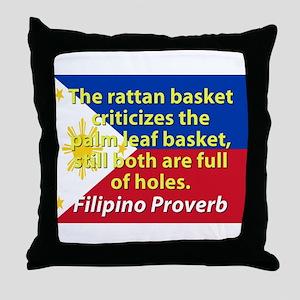 The Rattan Basket Criticizes Throw Pillow