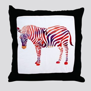 Mosaic Polygon Zebra Reds Blues Throw Pillow