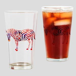 Mosaic Polygon Zebra Reds Blues Drinking Glass
