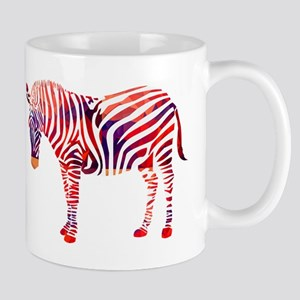 Mosaic Polygon Zebra Reds Blues Mugs