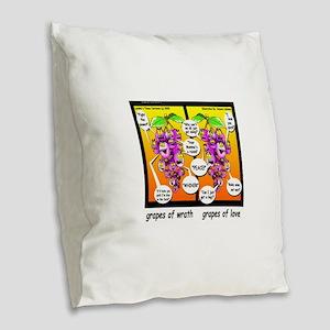 Grapes Of Wrath Peace Burlap Throw Pillow