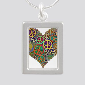 Colorful Peace Signs Heart Necklaces