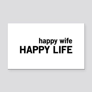 Happy Wife, Happy Life Rectangle Car Magnet
