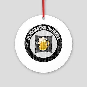 Designated Drinker Distressed Look Ornament (Round