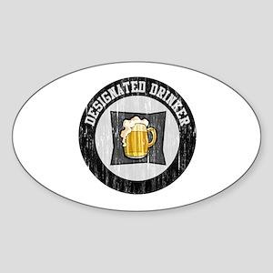 Designated Drinker Distressed Look Oval Sticker