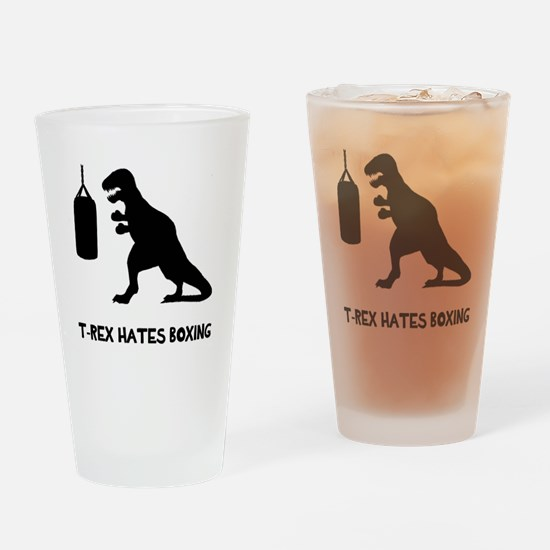 T Rex Hates Boxing Drinking Glass