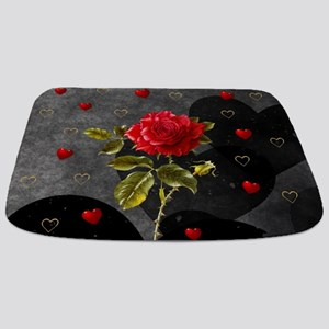Red Rose Black Hearts Bathmat