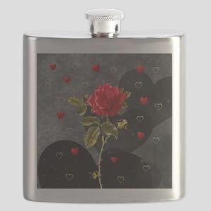 Red Rose Black Hearts Flask