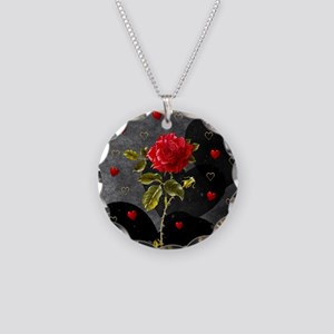 Red Rose Black Hearts Necklace Circle Charm